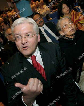 German Foreign Minister Frank-walter Steinmeier (spd L) Gestures As Indian Author Mahasweta Devi (r) Looks on at the Opening Ceremony of the Frankfurt Book Fair in Frankfurt Germany Tuesday 03 October 2006 the Largest Book Fair Worldwide Hosts More Than 7000 Exhibitors From 111 Countries and Runs Until Sunday 08 October 2006 Germany Frankfurt Main