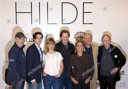 Actors Michael Gwisdek (l-r) Dan Stevens Heike Makatsch Director Kai Wessel Monica Bleibtreu Hanns Zischler and the Widower of Hildegard Knef Paul Von Schell Pose at a Photocall For Their Film 'Hilde' at Schillertheater in Berlin Germany 18 June 2008 the Release of the Film Biopic About the Life of German Actress and Singer Hildegard Knef is Planned For March 2009 Germany Berlin