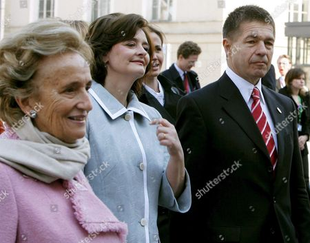 Joachim Sauer (r) the Husband of German Chancellor Merkel the Wife of French President Chirac Bernadette Chodron De Courcel (l) and Cherie Blair (c) the Wife of the British Prime Minister Blair Are Pictured After the Signing of the Berlin Declaration in Berlin Sunday 25 March 2007 the Berlin Declaration Outlines the New Course of the Eu Until 2009 Eu Heads of States and Goverments Are Meeting For an Informal Summit in Berlin on the Occasion of the 50th Anniversary of the Treaties of Rome Germany Berlin