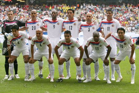 Team Photo From the Starting Eleven From Costa Rica (back L-r) Jose Porras Douglas Sequeira Paulo Wanchope Leonardo Gonzales Luis Marin Ronald Gomez (front L-r) Mauricio Solis Danny Fonseca Michael Umana Harold Wallace and Walter Centeno Prior to the Group a Preliminary Match of 2006 Fifa World Cup Between Ecuador and Costa Rica in Hamburg Thursday 15 June 2006 Germany Hamburg