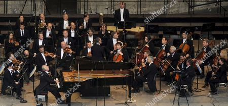 Pianist Maurizio Pollini Plays a Concert with the Berlin Philharmonic Orchestra on the Waldbuehne Stage in Berlin Germany 24 May 2008 After a Fire at the Concert Hall of the Orchestra It was Decided to Move the Concert on the Stage at a Berlin Forest Germany Berlin