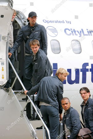 (l-r) Germany Internationals Clemens Fritz Kevin Kuranyi Heiko Westermann Simon Rolfes David Odonkor and Mario Gomez Board an Aircraft Taking the German National Squad to Its Training Camp From the Airport of Frankfurt Main Germany 03 June 2008 the German National Squad Set Up Their Camp For the Uefa Euro 2008 at the Lake Maggiore in Locarno Switzerland Germany Frankfurt Am Main