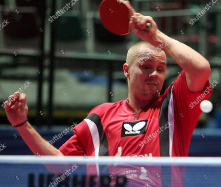 Danish Table Tennis Pro Michael Maze Plays a Forehand During His Second Round Match Against Swede Jan-ove Waldner at the Table Tennis Team World Championship in Bremen Germany Tuesday 25 April 2006 Germany Bremen