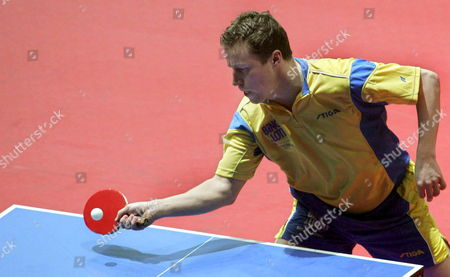 Swedish Player Jan-ove Waldner Plays a Forehand in the 3rd Round Match Vs Romanian Crisan During the 2006 World Team Table Tennis Championships at the Awd Dome in Bremen Germany Wednesday 26 April 2006 Germany Bremen