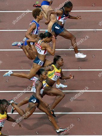 Athletes (from the Bottom) Usa's Carmelita Jeter Veronica Campbell From Jamaica Usa's Torri Edwards French Christine Arron and Usa's Lauryn Williams Are on Their Way During the Women's 100m Final at the 11th Iaaf World Championships in Athletics Osaka Japan 27 August 2007 Campbell Won the Gold Medal Japan Osaka