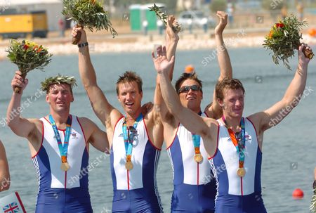 Gold Medal Winners Steve Williams James Cracknell Ed Coode and Matthew Pinsent (r-l) of Great Britain Jubilate on the Podium of the Men's Four Final at the Athens 2004 Olympic Games Saturday 21 August 2004 Epa/dpa Achim Scheidemann Greece Athens
