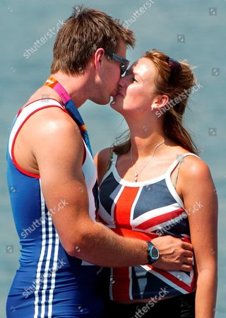 Gold Medal Winner Ed Coode (l) of Great Britain Kisses His Girlfriend Claire Swales (r) After Winning the Men's Four Final at the Athens 2004 Olympic Games Saturday 21 August 2004 Epa/dpa Achim Scheidemann Greece Athens