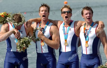 Gold Medal Winners Steve Williams James Cracknell Ed Coode and Matthew Pinsent (r-l) of Great Britain Shout on the Podium of the Men's Four Final at the Athens 2004 Olympic Games Saturday 21 August 2004 Epa/dpa Achim Scheidemann Greece Athens
