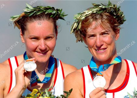 British Bronze Medal Winner Elise Laverick (r) and Sarah Winckless Celebrate After the Women's Double Sculls Final at the Athens 2004 Olympic Games Saturday 21 August 2004 Epa/dpa Gero Breloer Greece Athens