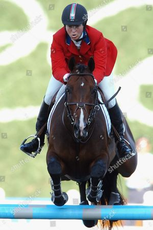 Beezie Madden From the Usa on Her Mount Authentic Clears an Obstacle During the Mixed Individual Jumping Final of the Athens 2004 Olympic Games at Markopoulo Equestrian Center Friday 27 August 2004 Epa/dpa Peter Kneffel Greece Athen