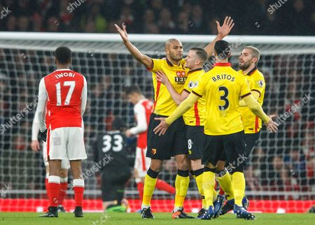 Younes Kaboul of Watford celebrates scoring a goal after making it 0-1 during the Premier League match between Arsenal and Watford played at The Emirates Stadium, London on 31st January 2017