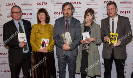 Francis Spufford, Winner of the Costa First Novel Award for Golden Hill, Keggie Carew, Winner of the Costa Biography Award for Dadland, Sebastian Barry, Winner of the Costa Novel Award for Days Without End, Alice Oswald, Winner of the Costa Poetry Award for Falling Awake and Brian Conaghan, Winner of the Costa Children's Book Award for The Bombs That Brought Us Together