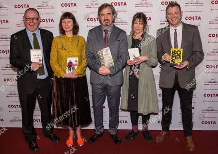 Stock Image of Francis Spufford, Winner of the Costa First Novel Award for Golden Hill, Keggie Carew, Winner of the Costa Biography Award for Dadland, Sebastian Barry, Winner of the Costa Novel Award for Days Without End, Alice Oswald, Winner of the Costa Poetry Award for Falling Awake and Brian Conaghan, Winner of the Costa Children's Book Award for The Bombs That Brought Us Together