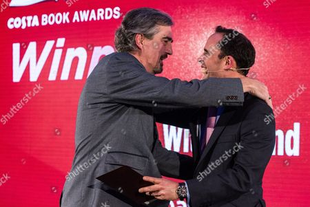 Sebastian Barry, winner of the Costa Book of the Year Award and Dominic Paul, Managing of Costa