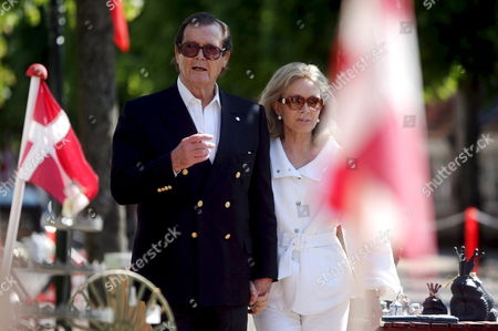 Veteran British Actor Roger Moore and His Wife Christina Tholstrup Stroll Through the Streets of the Danish Village of Mogeltonder 24 May 2008 Ahead of the Wedding of Danish Prince Joachim and Princess Marie Denmark M÷geltondern