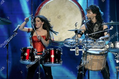 Bulgarians Elitsa Todorova (r) and Stoyan Yankoulov (l) Perform During the First Dress Rehearsal For the European Song Contest Finals in Helsinki Finland 11 May 2007 the Finals Will Take Place Tomorrow 12 May Finland Helsinki