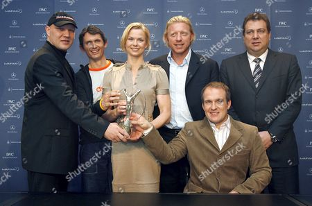 (l-r) Germans Former Boxing Pro Axel Schulz Cycling Pro Michael Teuber Swimming Pro Britta Steffen Chairman of the Laureus Sport For Good Foundation German Tennis Legend Boris Becker Skier Martin Braxenthaler and Mercedes-benz Head of Brand Communications Olaf Goettgens Smile For the Cameras After Announcing the Nominees For the Laureus World Sports Award 2007 in Stuttgart Germany Tuesday 27 February 2007 the Laureus Will Be Awarded in Barcelona Spain 2 April 2007 Germany Stuttgart
