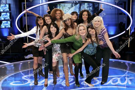 Candidates of the German Version of Singing Contest Pop Idol 'Dsds' Laura Martin Dominika Mrugala Julia Falke Francisca Urio Madeleine Boly Lauren Talbot Lisa Bund Priscilla Harris Nebiha Celenler and Sarah Jahncke (l-r) Pose on Stage in Cologne Germany Wednesday 07 February 2007 the Ten Girls Will Compete For the Audience's Affection on Saturday 10 February Germany Chemnitz