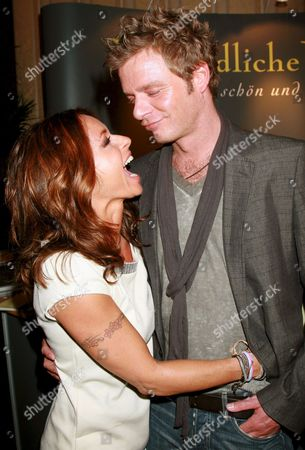 Actress Christina Plate (l) Jokes with Her Friend Tv Host Oliver Geissen at the Berlinale-party 'Movie Meets Media ' at Hotel Ritz Carlton in Berlin Germany 08 January 2008 the Event Took Place Within the 58th Berlin International Film Festival Germany Berlin