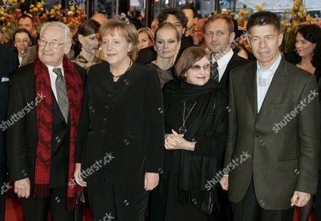 German Chancellor Angela Merkel (2-l) and Her Husband Joachim Sauer (r) Polish Director Andrzej Wajda (l) His Wife Krystyna Zachwatowicz and (2nd Row L-r) Polish Actors Maja Ostaszewska Magdalena Cielecka and Andrzej Chyra Arrive For the Premiere of the Film 'Katyn' at the 58th Berlin International Film Festival in Berlin Germany 15 February 2008 the Film Runs out of Competition at the 58th Berlinale Germany Berlin
