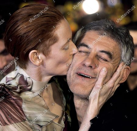 British Actress Tilda Swinton (l) Kisses French Director Erick Zonca (r) Before the Screening of Their Film 'Julia' at the 58th Berlin International Film Festival in Berlin Germany 09 February 2008 the Film is Running in Competition For the Silver and Golden Bears at the 58th Berlinale Germany Berlin