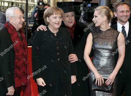 (l-r) Polish Director Andrzej Wajda German Chancellor Angela Merkel 58th Berlinale Festival Director Dieter Kosslick Polish Actress Magdalena Cielecka and Polish Actor Andrzej Chyra Arrive For Wajda's Premiere of the Film 'Katyn' at the 58th Berlin International Film Festival in Berlin Germany 15 February 2008 the Film Runs out of Competition at the 58th Berlinale Germany Berlin