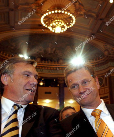 The Picture Shows Fdp Chairman Guido Westerwelle (r) and Fdp Head of Fraction Wolfgang Gerhardt Prior the Party's Final Election Campaign Event in Wiesbaden Germany Friday 16 September 2005 Germany's General Elections Will Be Held on Sunday 18 September 2005 Germany Wiesbaden