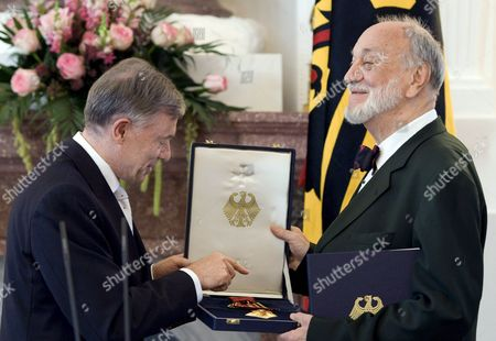 German President Horst Koehler (l) Awards the Federal Cross of Merit to Conductor Kurt Masur at Bellevue Palace in Berlin Germany 20 September 2007 Masur was Honoured For His Musical and Social Achievements in the Course of the German Reunification Germany Berlin