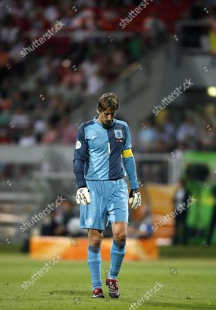 Dutch Goalkeeper Edwin Van Der Saar Looks Dejected During the 2nd Round Match of the 2006 Fifa World Cup Between Portugal and the Netherlands in Nuremberg Germany Sunday 25 June 2006 Portugal Won 1-0 Germany Nuremberg