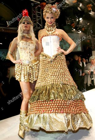 Lena Gerke (r) and Cora Schumacher Pose During the Fashion Show of the 'Lambertz Monday'-party in Cologne Germany 28 January 2008 the Party of Confectionery Manufacturer Lambertz Took Place Within the International Sweets and Biscuits Fair (ism) Which Runs From 27 to 30 January 2008 Germany Cologne