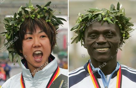 Combo of Kenya's Felix Limo (r) and Japan's Yoko Shibui Male and Female Winners of the 31st Annual Berlin Marathon Run Sunday 26 September 2004 Germany Berlin