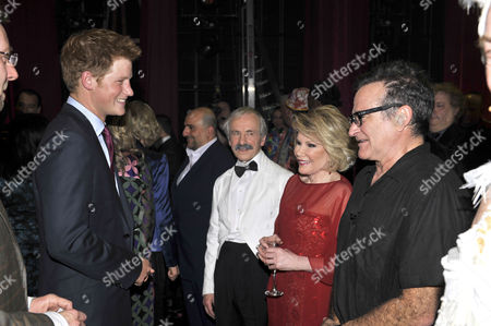 Prince Harry with Andrew Sachs as Manuel, Joan Rivers and Robin Williams.