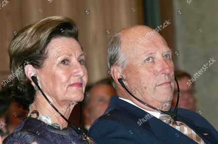 King Harald V of Norway (r) and His Wife Queen Sonja of Norway Attend the Willy Brandt Prize Award Ceremony at the Red City Hall (rotes Rathaus) in Berlin Germany 16 October 2007 This Year's Willy Brandt Prize Laureates Are Former German Minister Egon Bahr and Former Norwegian Foreign Minister Thorvald Stoltenberg the Norwegian King and Queen Are on a Three Day State Visit in Germany Germany Berlin