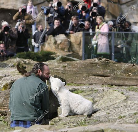 Polar Bear Cub 'Knut' (r) and His 'Foster Father' Keeper Thomas Doerflein (l) Cuddle in Front of the Audience During the Bear's First Public Presentation at the Zoo in Berlin Germany Friday 23 March 2007 Hundreds of Visitors and Journalist Attended the Event Photo: Marcel Mettelsiefen Germany Berlin