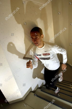 Stock Picture of Matthias Jahn Runs Up the Stairs of the Messeturm ('fair Tower') at the Warm-up For the 2 Arque-sky-run in Frankfurt Germany 18 May 2008 Jahn is the Favourite For the Run on the 61 Storeys and 222 Metres of the Messeturm Germany Frankfurt Main
