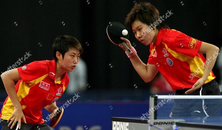 China's Guo Yue (l) and Li Xiaoxia in Action During the Table Tennis German Open Women's Doubles Final at the Stadthalle in Bremen Germany 11 November 2007 China Defeated South Korea's Kim Kyung Ah and Park Mi Young in Four Sets Germany Bremen