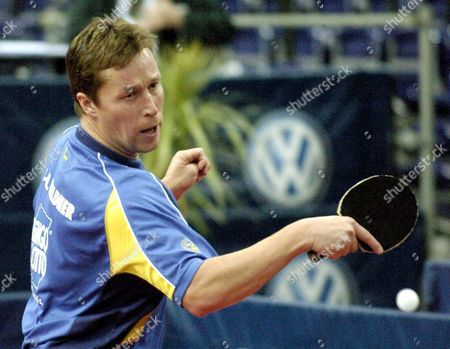 Swedish Table Tennis Player Jan-ove Waldner Plays the Ball During a Match Against Belgium's Philippe Saive During the Volkswagen German Open in Leipzig Germany Friday 12 November 2004 Waldner Won the Match 4-0 Germany Leipzig
