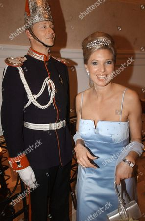 Princess Maja Von Hohenzollern Passes a Guard Upon Arrival For the 5th International Tsar Ball in the Ritz-carlton at Potsdamer Square in Berlin Saturday 07 February 2004 Proceeds of the Glamourous Benefit Gala Are For Musical Gifted Children in Russia Germany Berlin