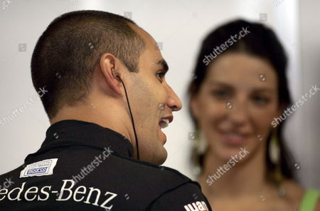 Columbian Formula One Driver Juan Pablo Montoya (l) of Mclaren Mercedes and His Wife Connie Montoya Talk to Each Other During the Third Practice Session at the Italian Grand Prix Track in Monza Italy Saturday 03 September 2005 the Grand Prix of Italy Will Take Place Here on Sunday 04 September Italy Monza