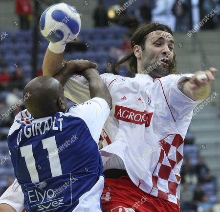 Ivano Balic (r) of Croatia and Olivier Girault (l) of France Shown in Action During the Handball European Championship 2008 Semi Final at Hakonshall in Lillehammer Norway 26 January 2008 Norway Lillehammer