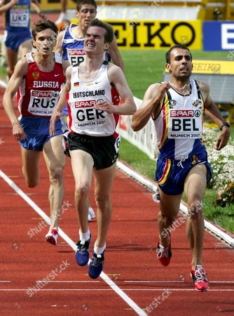 (r-l) Long Distance Runners Monder Rizki of Belgium Arne Gabius of Germany and Alexander Orlov of Russia Pictured Right Before the End of the 5000m Race at the Spar European Cup in Munich Germany 23 June 2007 Germany Munich