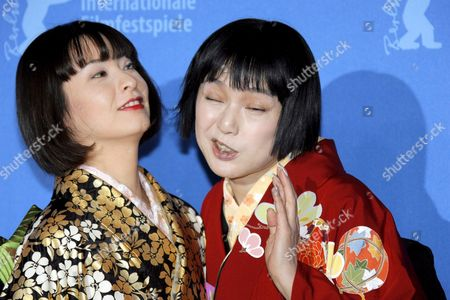 Japanese Actresses Rei Dan (l) and Kaori Momoi Bang Their Heads During a Photo Call For the Film 'Love and Honor' at the 57th Berlinale Film Festival in Berlin Germany Friday 09 February 2007 Germany Berlin