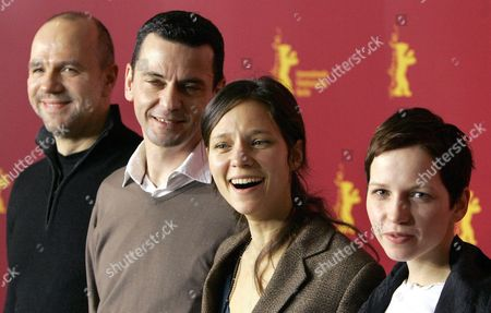 Stock Image of Actor Aurelien Recoing (l) Director Christian Petzold (2nd L) and Actors Sabine Timoteo and Julia Hummer (r) Arrive at the Press Conference For Their Movie 'Ghosts' at the Berlinale Filmfestival in Berlin Germany Tuesday 15 February 2005 the Film Has Received Mixed Reactions at the Festival the First Showing in Front of Critics Earned Only Restrained Applause But at the Following Press Conference Many Viewers Expressed Their Fondness of the Film Germany Berlin