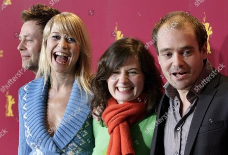 Actors Frank Thiel (l) Trine Dyrholm (2nd L) David Dencik (r) and Director Pernille Fischer (2nd R) Smile During a Photo Call For Their New Film 'A Soap' at the 56th International Berlinale Film Festival in Berlin Germany Friday 10 February 2006 the Festival Opens Friday 10 February and Runs Until 19 February 2006 the Festival Features 396 Films From 56 Countries 19 Films Thereunder Danish Production 'A Soap' and Four German Productions Compete For the Festival's 'Golden Bear' Award Germany Berlin