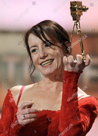 Stock Image of Actress Ulrike Krumbiegel is Happy About Her Award at the 43rd 'Goldene Kamera' Awards in Berlin Germany 06 February 2008 Krumbiegel Receives the Award For 'Best German Actress' the 'Goldene Kamera' is Awarded by the Tv Magazine 'Hoerzu' Germany Berlin