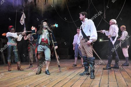 (L-R) Sharlene Whyte, Keith Allen as Long John Silver and John Lightbody as Squire Trelawny