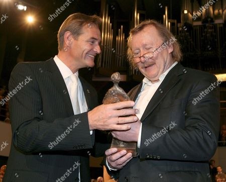 Stock Photo of Lord Mayor of Leipzig Burkhard Jung (l) Hands Over the Mendelssohn-prize 2008 to German Philosopher Peter Sloterdijk (r) at the Gewandhaus Zu Leipzig Germany 06 March 2008 the International Felix-mendelssohn-foundation Presided Over by German Conductor and Foundation President Kurt Masur Handed Over the Prize For the Second Time Composer Felix Mendelssohn Bartholdy (1809-1847) was Gewandhauskapellmeister in Leipzig and Founded Here the First German Conservatorium Germany Leipzig