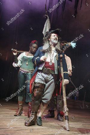 'Treasure Island' - Sharlene Whyte (Anne Bonny), Keith Allen (Long John Silver), 'Cap'n Flint' and John Lightbody (Blind Pew)
