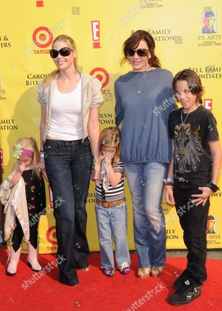 Denise Richards with daughters Lola Rose and  Sam with Krista Allen and son