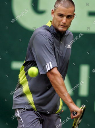Russian Tennis Pro Mikhail Youzhny Hits a Backhand in His Rounf of 16 Match Against German Simon Stadler at the 15th Gerry Weber Open in Halle/westfalia Germany 13 June 2007 Germany Halle